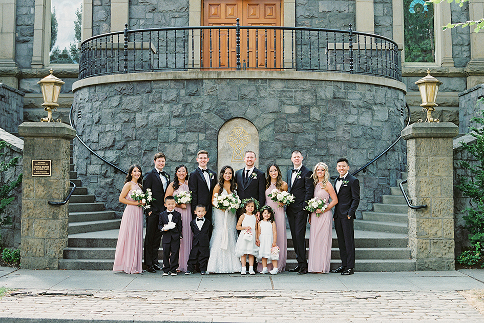 Stephanie and Nyles with their wedding party.