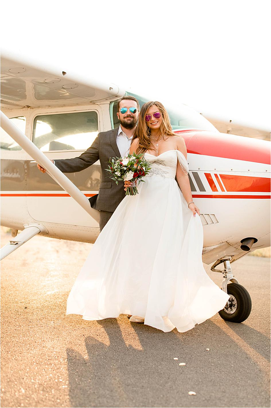 oregon bride, oregon wedding, corvallis wedding, bride and groom, airplane photography