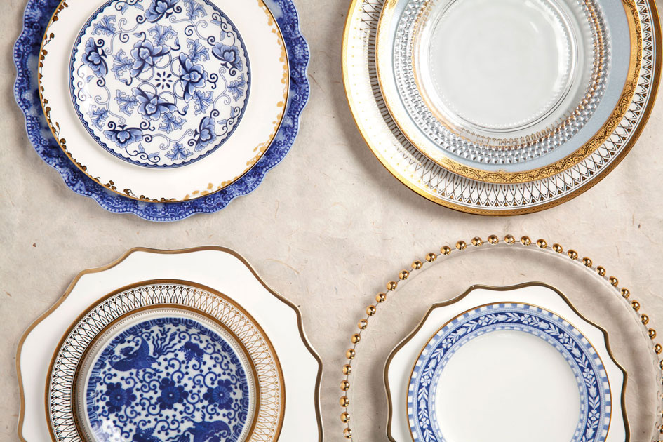 Pretty patterned plates from various Oregon rental services