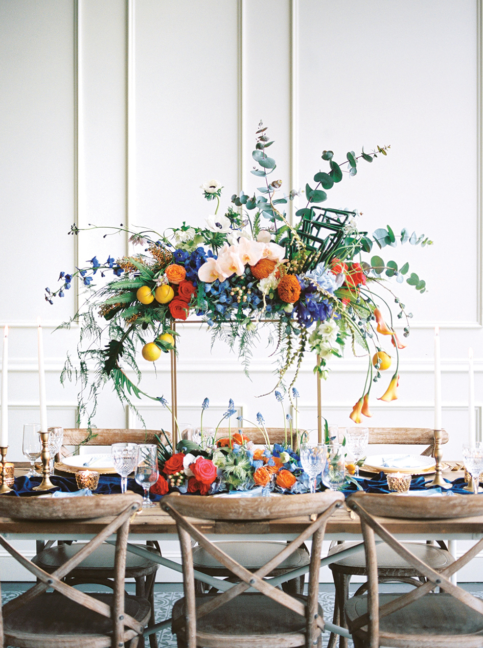 something blue tablescape
