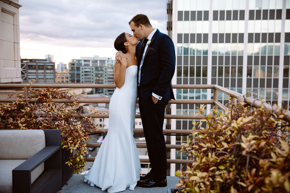 Portland skyline provided a beautiful backdrop for this newlywed couple at the Sentinel Hotel.
