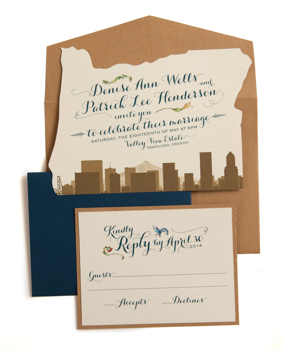simply stated wedding invitations that show off your state pride