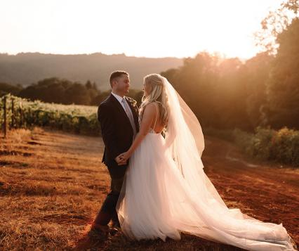 Taylor and Kyle wed at Maysara Winery