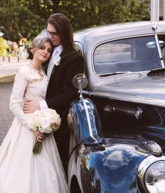 Mitchell Wilson and Veronica Medici with their 1941 Packard getaway car