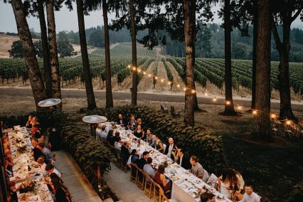 The Vista Hills Vineyard event space in Dayton is surrounded by vines and a grove of oak trees
