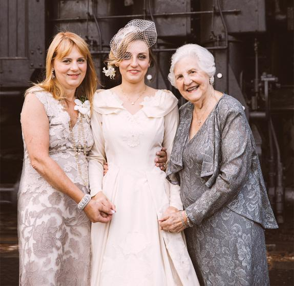 the bride with her mother and grandmother